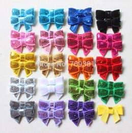 "flat hair color 2019 - 1 .5 "" Fashion Head Bands Mini Sequin Bows Kids Hair Bows Flat Back for Hair Accessories Solid Headwear 19colors Al"