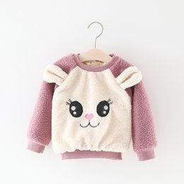 Barato Desenhos Animados Grandes Da Menina Dos Olhos-Everweekend Girls Cartoon Big Eyes Velvet Autumn Blouse Sweet Children Western Fashion Clothing Cute Baby Winter Autumn Tops