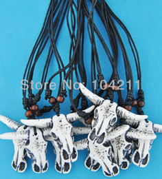 TibeTan sTyle necklace online shopping - Jewelry Tibetan style Imitation yak bone Cow skull pendant necklace Amulet Gift