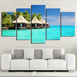 oil paint island Australia - 5 Pcs Set HD Printed Framed Maldives Islands Palm Tree Modern Home Wall Decor Painting Canvas Art Painting Wall Pictures