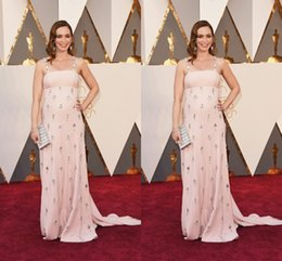 Emily S'habille Pas Cher-2016 Emily Blunt The 88th Oscar Awards Blush Robes de soirée Spaghetti Straps Beads Crystal Formal Prom Party Robe Custom For Celebrity