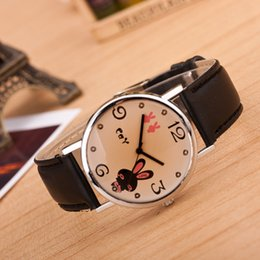 Glasses Straps NZ - 2018 new female LOVE ear Miffy brown glass leather watch strap watch fashion leisure students