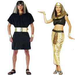 Robe De Cosplay D'egypte Pas Cher-Femmes Hommes Egypte Guerrier Pharaon Prince Princesse Costume Déguisements Fête Halloween Cosplay Carnaval Costumes