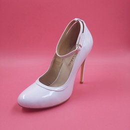 cheap strap buckle Canada - Real Image White Wedding Bridal Shoes Heels Buckle Strap High Thin Heels Prom Shoes New Arrive Hot Sale Cheap Modest Plus Size Fashion