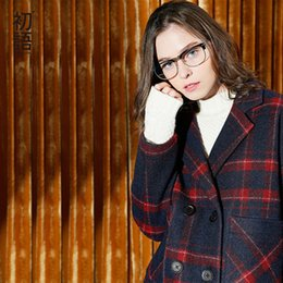 Barato Longos Casacos De Lã-Toyouth 2017 New Arrival Outono Mulheres Plaid Stripe Coat Preppy Estilo Oversize Medium <b>Long Wollen Coats</b>