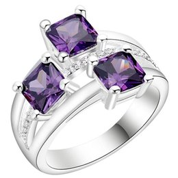 PurPle amethyst white gold ring online shopping - Plated Sterling Silver Jewelry New zircon jewelry ring Korean purple white jewelry