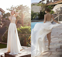 Barato Linha De Vestido De Verão Halter-Sexy Backless Summer Beach Wedding Dresses 2018 Halter Beaded Crystal Chiffon Lace Side Split Julie Vino Bridal Gowns Vestidos BO5557