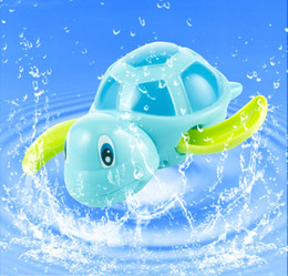 Discount swimming toy turtles - New born babies swim turtle wound-up chain small animal Baby Children bath toy classic toys swimming pool play bathing t