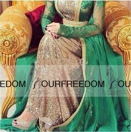 Yousef aljasmi labourjoisie online shopping - Celebrity dress Yousef aljasmi myriam fares labourjoisie Lace Long sleeve Green Scoop Neck Sequines Floor Length Evening Dresses