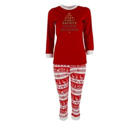 cfa6cc6ad7 Wholesale- Lastest Cotton Letter Print Christmas Pajama Sets For Family  Women Men Long Sleeve Sleepwear Nightwear