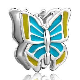 Pandora Charm Bracelet Blue Canada - Alloy Material Rhodium Plating Hand Yellow and Blue Enamel Butterfly Bead Elegant Charm Fit Pandora Bracelet