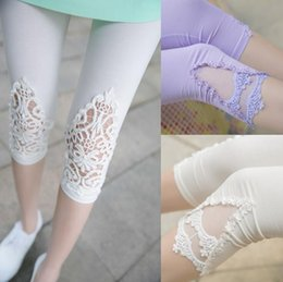 leggings lycra hot Canada - NEW HOT 2016 summer women fashion 16 colour different lace Shorts Leggings trousers Mid-Calf Pants Capris Stretch Legging