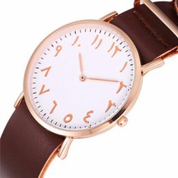Опт Мода арабские цифры мужские часы мужчины простой кожаный ремешок Кварцевые наручные часы