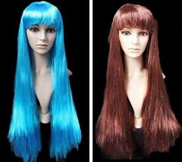 Vente en gros Gros-chaude 75 cm Longue perruque sculpter femmes droite partie perruques pas cher synthétique perruques blond rouge noir brun bleu cosplay perruque 10 couleurs