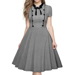 $enCountryForm.capitalKeyWord UK - Women Plaid Polka Dot Houndstooth Dresses Black Turn-down Collar Vintage Short Sleeve Work Wear Female A-line Dress