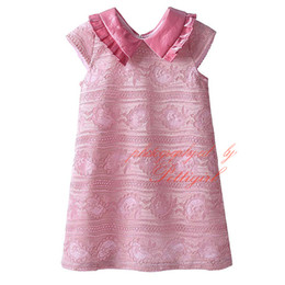 Ropa Al Por Mayor Baratos-Pettigirl En Stock Cute Lace Girls Dresses Elegante Rosado Casual Niños Visten Ropa de Bebé Al Por Mayor DMGD81127-20L