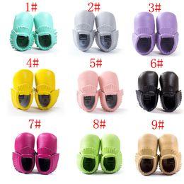 Baby Moccasin Booties Canada - Free DHL 18 Colors Baby moccasins soft sole moccasin leather Colorful Tassel prewalker booties toddlers baby tassel PU shoes