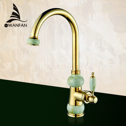 Kitchen Faucets European Natural Jade Golden Hot And Cold Sink Tap  Vegetables Basin Rotate Spout Drinking Water Faucet BM 6007K