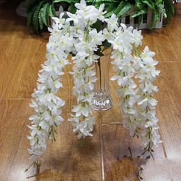 one piece displays 2018 - 5 Branches for one piece Elegant Artificial Hanging Orchids Wisteria Garland Flower For Home Ornament Wedding Decoration