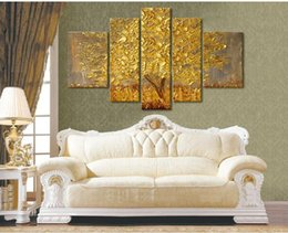 $enCountryForm.capitalKeyWord Canada - HIGH QUALITY yellow autumn tree painting modern abstract golden oil painting on canvas wall paintings for living room