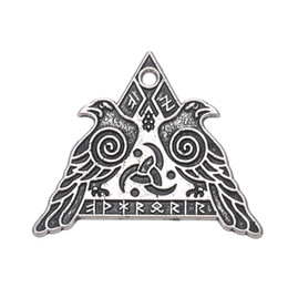 Antique Warriors UK - Pendant New Designer antique silver plated religious couple birds triangle Warrior Valknut Odin's Ravens charms DIY Jewelry Dailywear