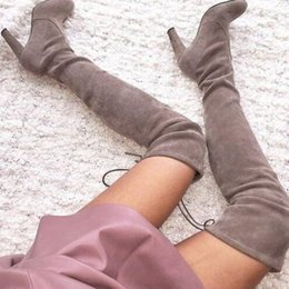women red leather over knee boots NZ - Sexy Female Thigh-high Boots Stretch Suede Leather Shoes Woman Laced Back Heeled Ladies Over The Knee Boots Designer Motorcycle Booties 42