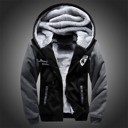 Barato Hoodies Encapuzados De Lã-New Wool Liner Men's Hooded Sweatshirts Men's Winter Hoodies Casual Tracksuit Moleton Masculino Thick Coats Zipper
