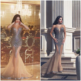 See Through Wedding Dress Crystal Beading Canada - Mermaid Beaded Prom Dresses 2016 Party Dress See Through Neckline Evening Dresses Wedding Party Sexy Custom Made Modern