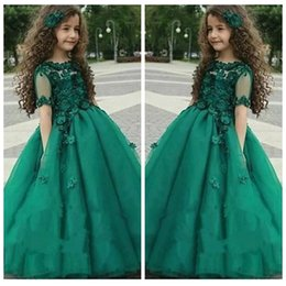 Barato Laço Vestido Tulle Verde Criança-Dark Green Half Sleeves Flores Appliques Beaded Meninas Dress Up Dresses Lace Sheer Tulle Flower Girls Toddler Birthday Party Gowns