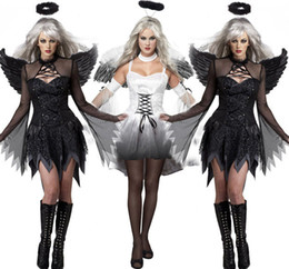 Women Costumes Angels Canada - 1 set Free Size Hot Sale Women sexy Black White Devil Costume Halloween Outfit Dress Up Hen Party Angel With Wing Cosplay Exotic Appare