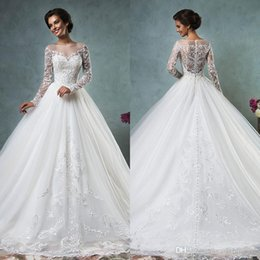 $enCountryForm.capitalKeyWord Canada - Sheer Bateau Long Sleeve Wedding Dresses 2016 Amelia Sposa Vintage Lace Illusion Back Covered Buttons Ball Bridal Gowns Ivory Court Train