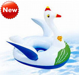 Inflatable Toys Animals Pvc Canada - 2015 children inflatable swan float swan mounts for pool toy floating ring swim PVC inflatable advertising inflatable swan 76*56CM