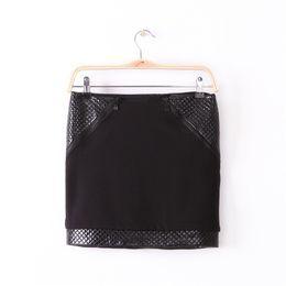 $enCountryForm.capitalKeyWord UK - New 2016 Women's Sexy Tight Mini Skirts Ladies Hot Fashion Black PU Leather Patchwork Zippers Slim Pencil Skirts For Women