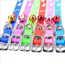 Adjustable Collars Canada - 20pcs Rubber pet bell collar Pet Puppy Cat Fashion adjustable Necklace