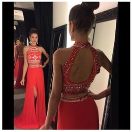 Crystal Back Beaded Evening Dresses Canada - New Arrival High Neck Crystal Beaded Red Two Piece Prom Dresses 2016 Sweep Train Chiffon Open Back Long Formal Evening Gown