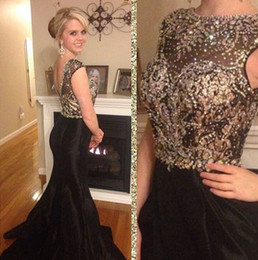peplum mother bride dresses NZ - Black Mermaid Evening Dresses Prom Gowns With Sequins Beads Crew Neck Sleeveless Backless Long Satin Mother Of The Bride Dresses