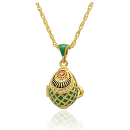 18k white gold chain styles UK - green enamel Fish Shape Faberge Egg Pendant locket Easter Egg for Russian Style Necklace with Crystal and Gold Plated Chain