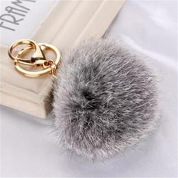 Car Ornaments Canada - Hot Sales 8cm chaveiro keychain fur pom pom key chain Rabbit Hair Bulb Bag Car Ornaments Ball Pendant Key Ring a116-123 2017120611