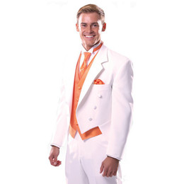 double breasted men custom suits UK - White Wedding Tailcoat 2018 Notched Lapel Three Piece Groom Wear Double Breasted Custom Made Men Suits New (Jacket + Pants + Vest)