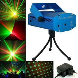 Atacado Vermelho Verde Cor Mini LED Projetor Laser DJ Discoteca Bar Iluminação de Palco Com Caixa De Varejo Para Casa Partido Decorações de natal venda por atacado
