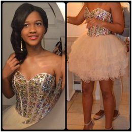 $enCountryForm.capitalKeyWord Canada - Sparkly 8th Grade Homecoming Dresses 2016 Crystals Beaded A Line Tulle Sweetheart Short Sexy Cocktail Dress Special Party Gown