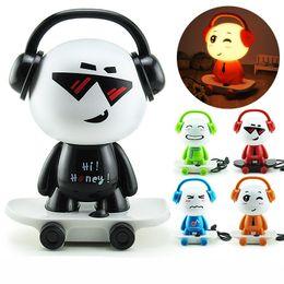 Discount lamp cute - Super Q Edition Music Boy Small Desk Lamp Bed Head Night Light Table Lamp DJ Skateboard Cute Boy Night Light Cartoon Des