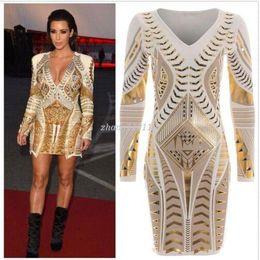 Kim Kardashian sexy online shopping - Women Kim Kardashian Dress Long Sleeve Ladies Gold D Printed Foil Aztec Bodycon Dresses Sexy V Neck