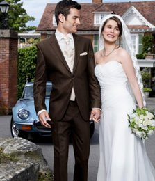 $enCountryForm.capitalKeyWord Canada - opular Design Two Button Chocolate Groom Tuxedos Peak Lapel Groomsmen Men Wedding Tuxedos Dinner Prom Suits (Jacket+Pants+Vest+Tie)q128