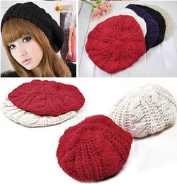 beret braided baggy beanie UK - Women Ladies Girls Warm Hat Baggy Beret Chunky Cotton Knit Knitted Braided Beanie Ski Cap