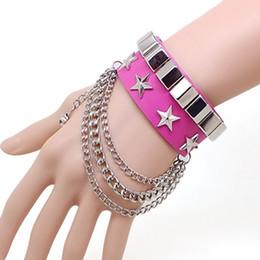 Discount wholesale pentagram bracelets - Non-mainstream personality rivet punk rock star pentagram leather bracelet multi- chain bracelet selling electricity sup