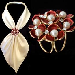 Flower Brooch Clip Canada - Fashion Jewelry Women Broaches Gold Plated Pearl Rhinestone Enamel Flower Scarf Clips Wedding Brooch For Women Wholesale 12Pcs