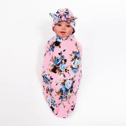Новорожденный ребенок пеленать обернуть одеяло Hat Set младенческой цветок цветочные пеленать мягкий хлопок сна мешок Wrap ткань с кроличьими ушами Cap шляпы BM108