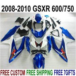 $enCountryForm.capitalKeyWord Australia - High quality ABS fairing kit for SUZUKI GSXR750 GSXR600 2008-2010 K8 K9 white black blue fairings set GSXR600 750 08 09 10 FA36