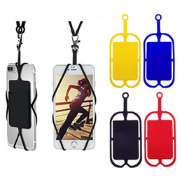 Wholesale DHL or EUB Silicone Lanyards Neck Strap Necklace Sling Card Holder Strap keychain for Universal Mobile Cell Phone